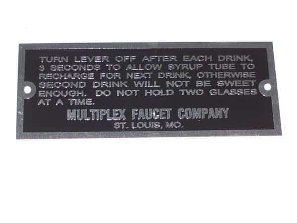 Instruction Plate for Multiplex Fountain Dispensers