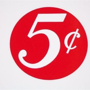 """""""5 Cent  """" Red & White 3"""" Circle Decal"""