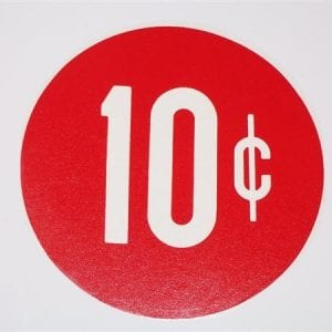 """10 Cent"" Red & White 3"" Circle Decal"