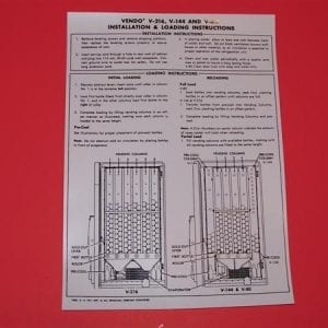 Bottle Loading Instruction Decal for Vendo V-216, V-144 & V-80