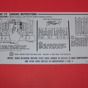 Bottle Loading Instruction Decal for Vendorlator VMC 72
