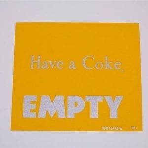 """""""Have a Coke/Empty"""" Silver & Yellow Decal for VMC 27 & 33"""