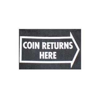 """Coin Returns Here"" Arrow  Water Release or Vinyl Decal for Vendo V-81 & V-110"
