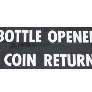 """Coin Return & Bottle Opener"" Red or White Decals for Vendo V-81"