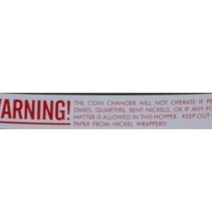 """Warning"" Decal for Vendo Coin Changer"