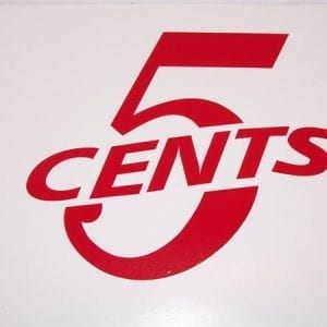 """5 Cents"" Red or White Vinyl Decal"