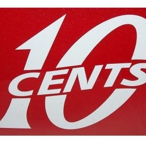 """10 Cents"" Red or White Vinyl Decal"