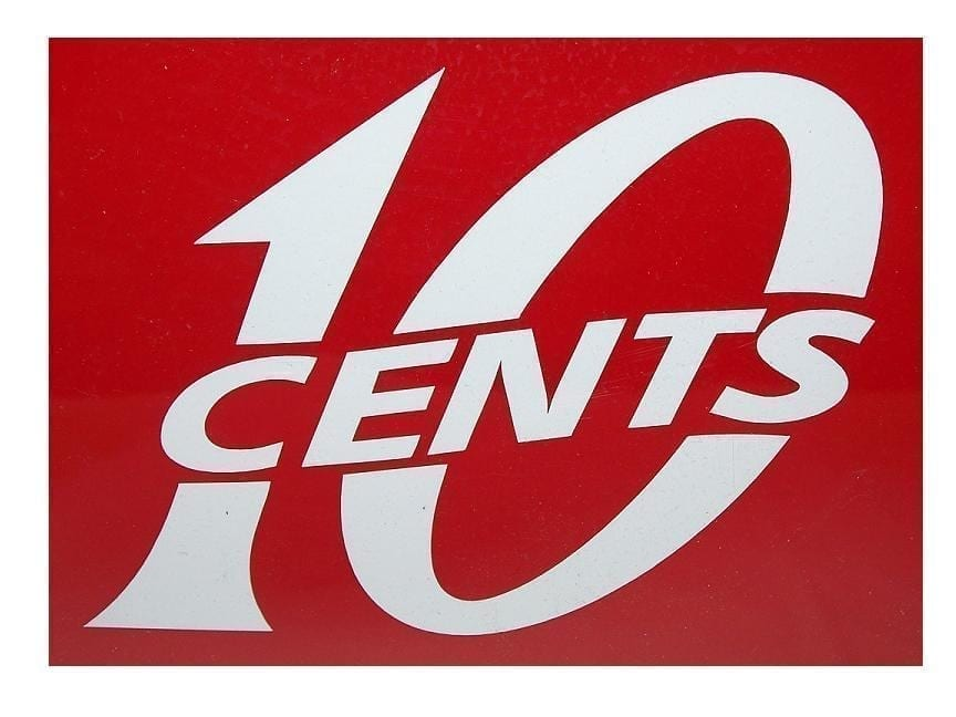 """""""10 Cents"""" Red or White Vinyl Decal"""