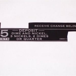 """15 Cent"" Coin Entry Decal for Square Corner Vendo V-56"