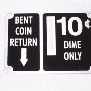 """10 Cent"" Coin Entry Plate for Ideal Slider Coin Boxes"