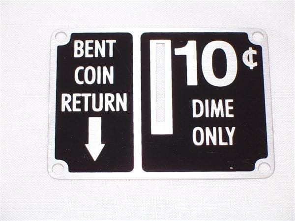 """""""10 Cent"""" Coin Entry Plate for Ideal Slider Coin Boxes"""