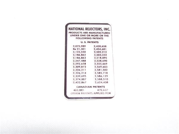 National Rejectors Patent Notice Decal for Large Coin Door Style Mechs