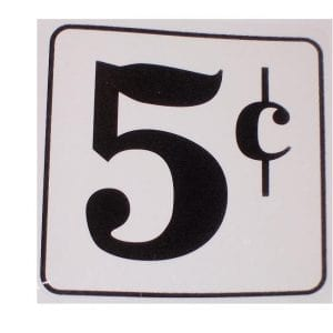 """5 Cent"" Decal for Fountain Dispensers"