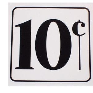 """10 Cent"" Decal for Fountain Dispensers"
