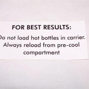 """For Best Results: Do Not Load Hot Bottles…"" Decal for VMC 27a & 33"