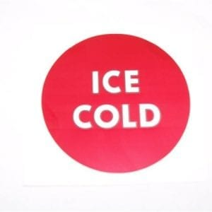 """ICE COLD"" Decal for Motor Cover of Wet Chest Coolers"