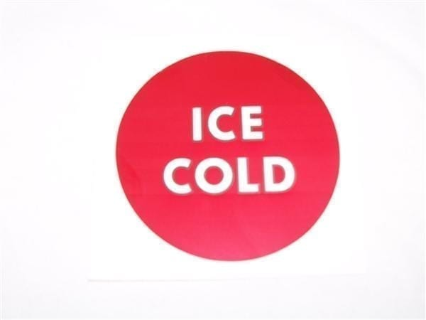 """""""ICE COLD"""" Decal for Motor Cover of Wet Chest Coolers"""