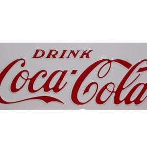 """Drink Coca-Cola"" Red or White Vinyl Decal for Early Cavalier CS-72 & CS-96"