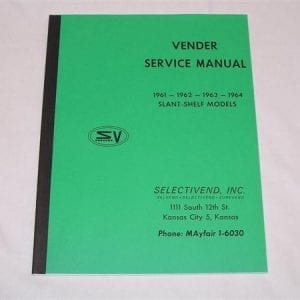 Selectivend 1961, 1962, 1963 & 1964 Slant Shelf Models Service & Parts Manual