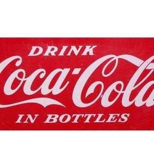 """Drink Coca Cola In Bottles"" White Vinyl Decal for Vendo V-23"