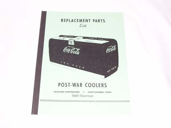 Cavalier Post-War Coolers Replacement Parts Catalog Manual
