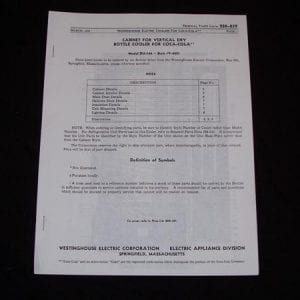 Westinghouse CU-144 Style Y-4021 Cooler Parts List