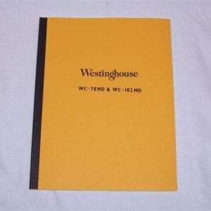 Westinghouse WC-78MD, WC-102MD & WB-60-K6-D Service Manual