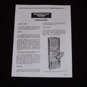 National Rejectors Model 6500 Mechanical Coin Changer Manual
