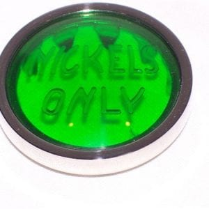 """Nickels Only""  Green Lens for Pepsi Version Jacobs Machines"