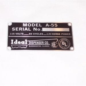 Serial Plate for Ideal Model A-55 Slider