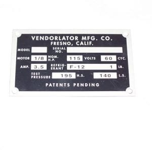 Serial Plate for Vendorlator VMC 27, 27a & Others