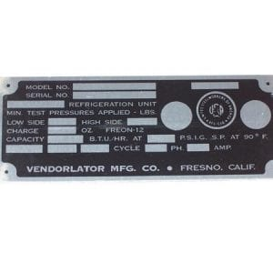 Serial Plate for 1950's & 1960's Vendorlator Models