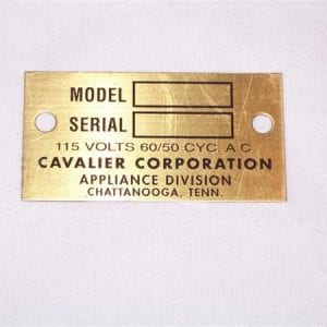 Serial Plate for 1940's & 1950's Cavalier Models