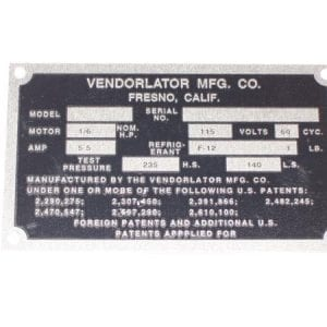 Serial Plate for Vendorlator VMC 33, 44 & 72 Models