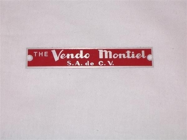 Serial & ID Plate for Mexican Vendo Models