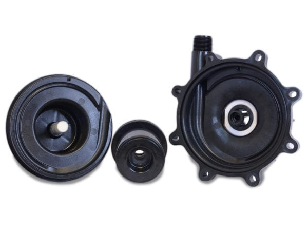Apex Engineering 1'' Wet End Kit for 10MDO pump. Image of the 3-piece wet end kit.
