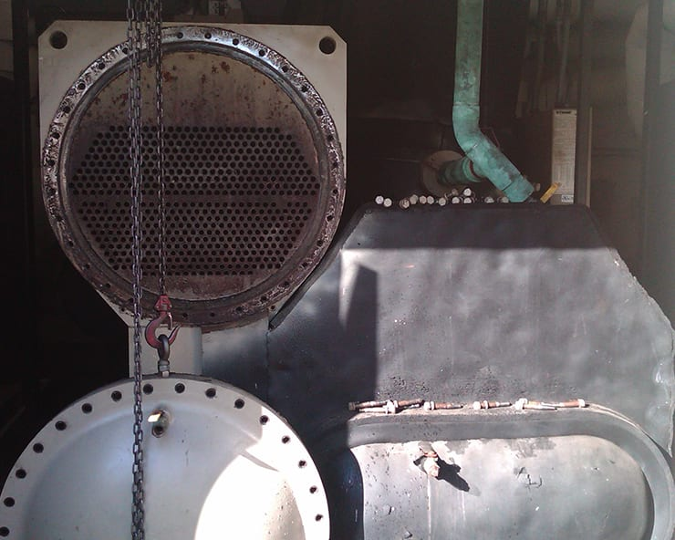 Financial Institution Chiller Cleaning Case Study. Image of a chiller in a financial institution maintenance room.