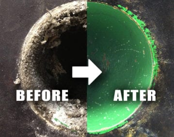 Wastewater Process Pipe Cleaning Case Study. Before/After image of a pipe with struvite buildup treated with RYDLYME.
