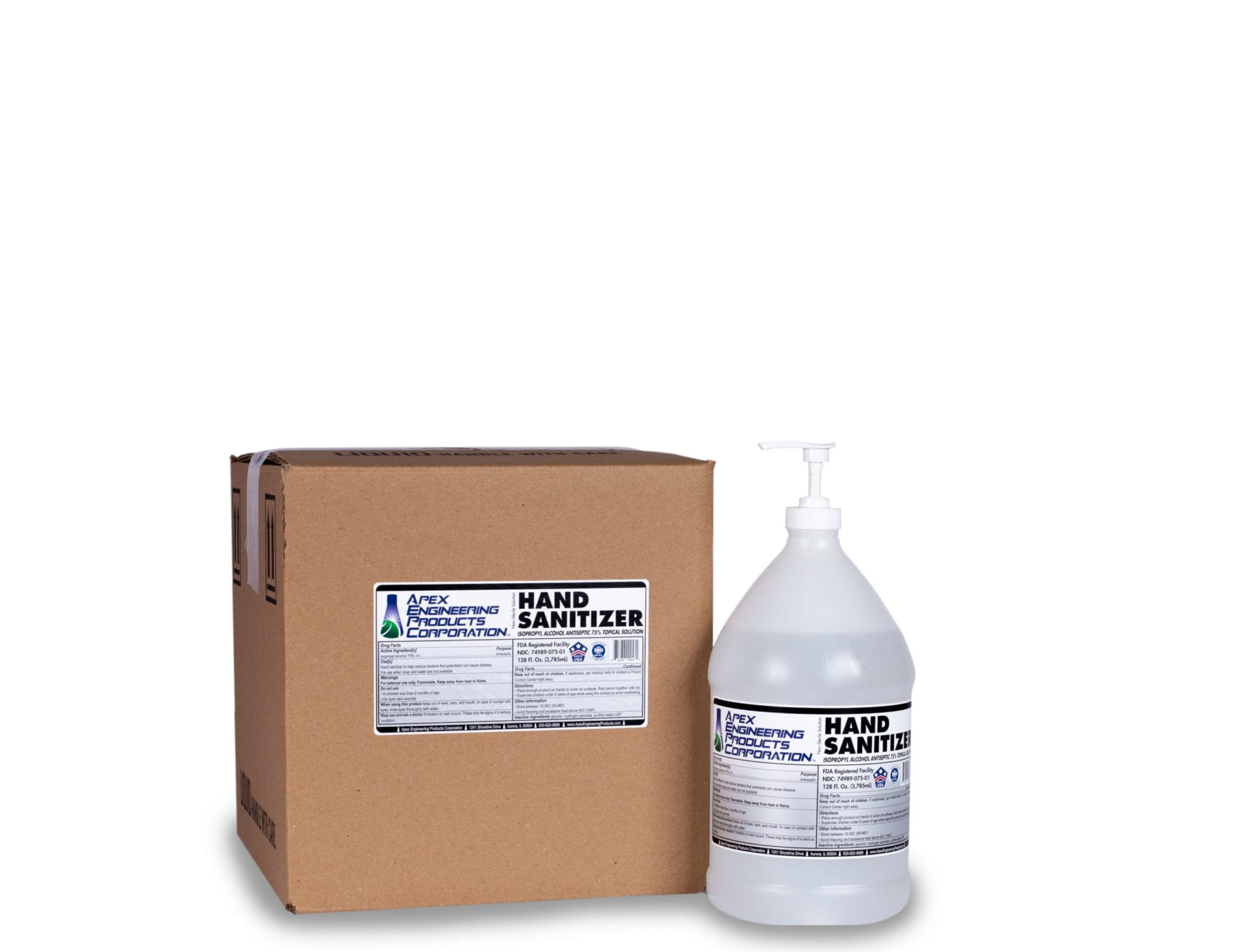 Apex Hand Sanitizer. Image of a box of hand sanitizer next to a gallon jug of hand sanitizer.